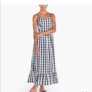 NWT J crew Gingham Maxi Dress Organic Cotton